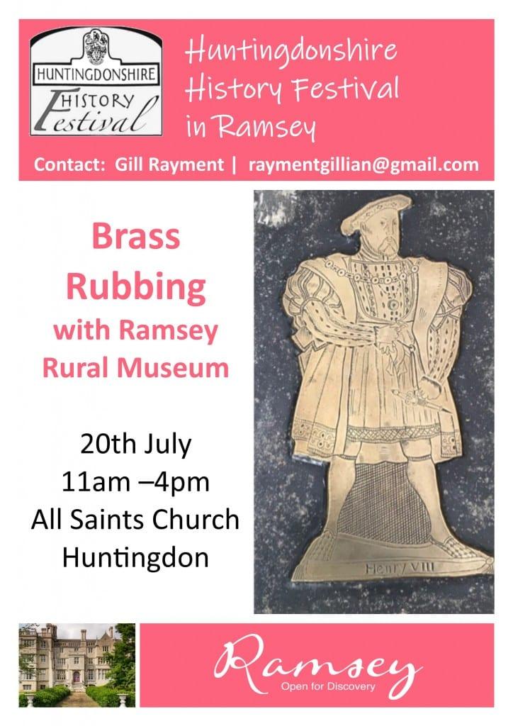 Huntingdonshire History Festival in Ramsey - Brass Rubbing